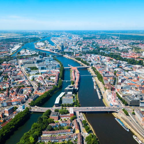 Bremen old town aerial panoramic view in Germany