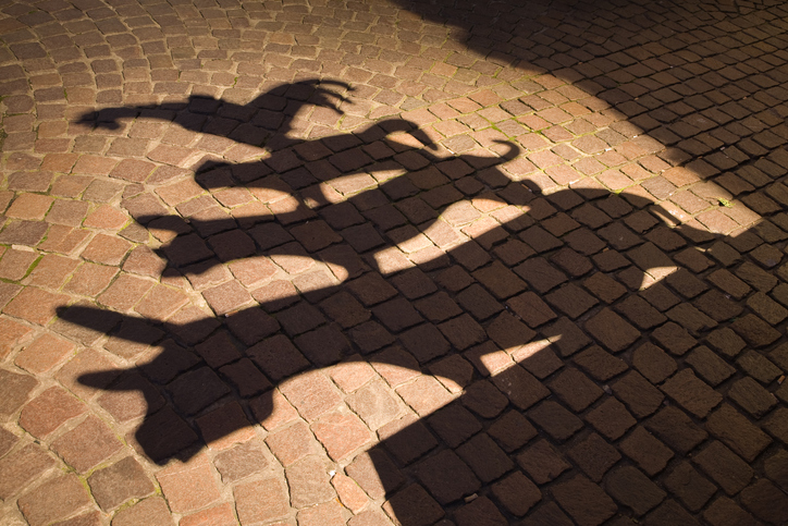 """shadow of the sculpture of the famous town musicians of Bremen. """"The Town Musicians of Bremen"""" is a fairy tale from Brothers Grimm."""