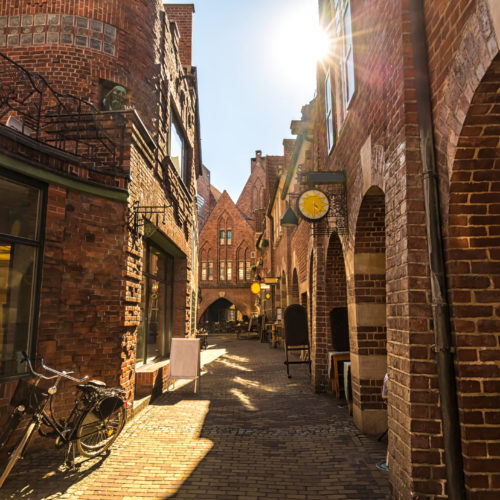 Old town in Bremen with sunlight